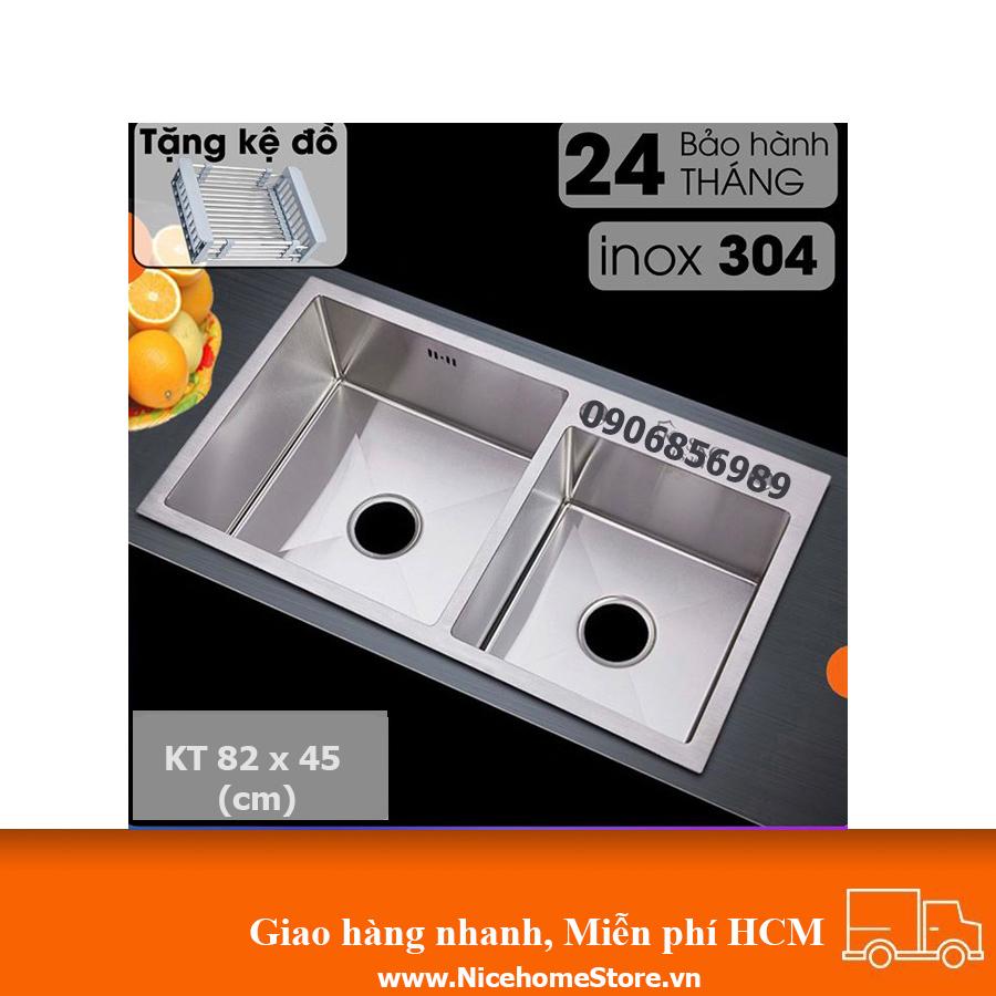 chậu rửa chén inox 304 kích thước 82 x 45 cm