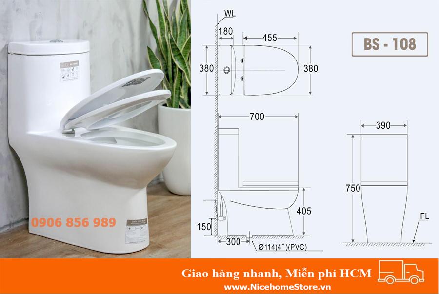 kích thước bồn cầu basics BS 108