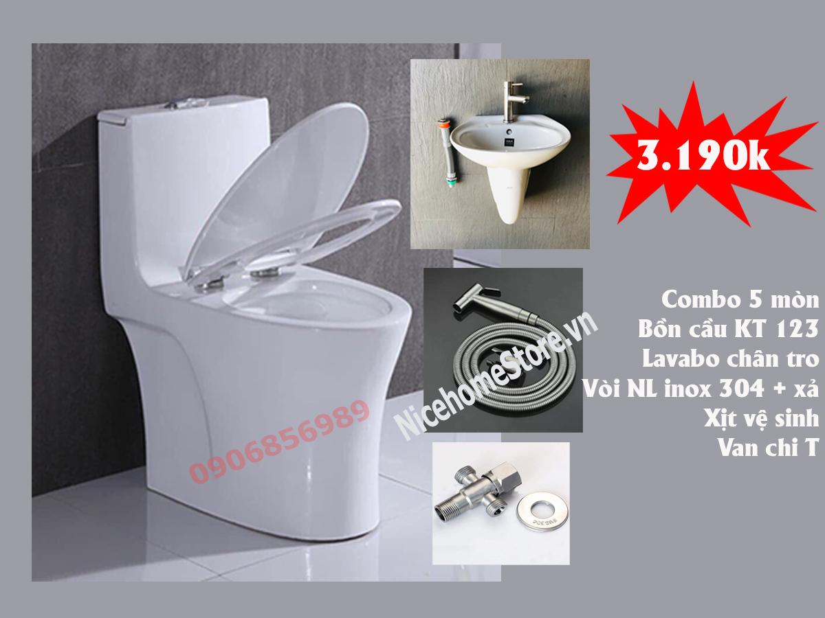 Bồn cầu giá rẻ với combo thiết bị vệ sinh